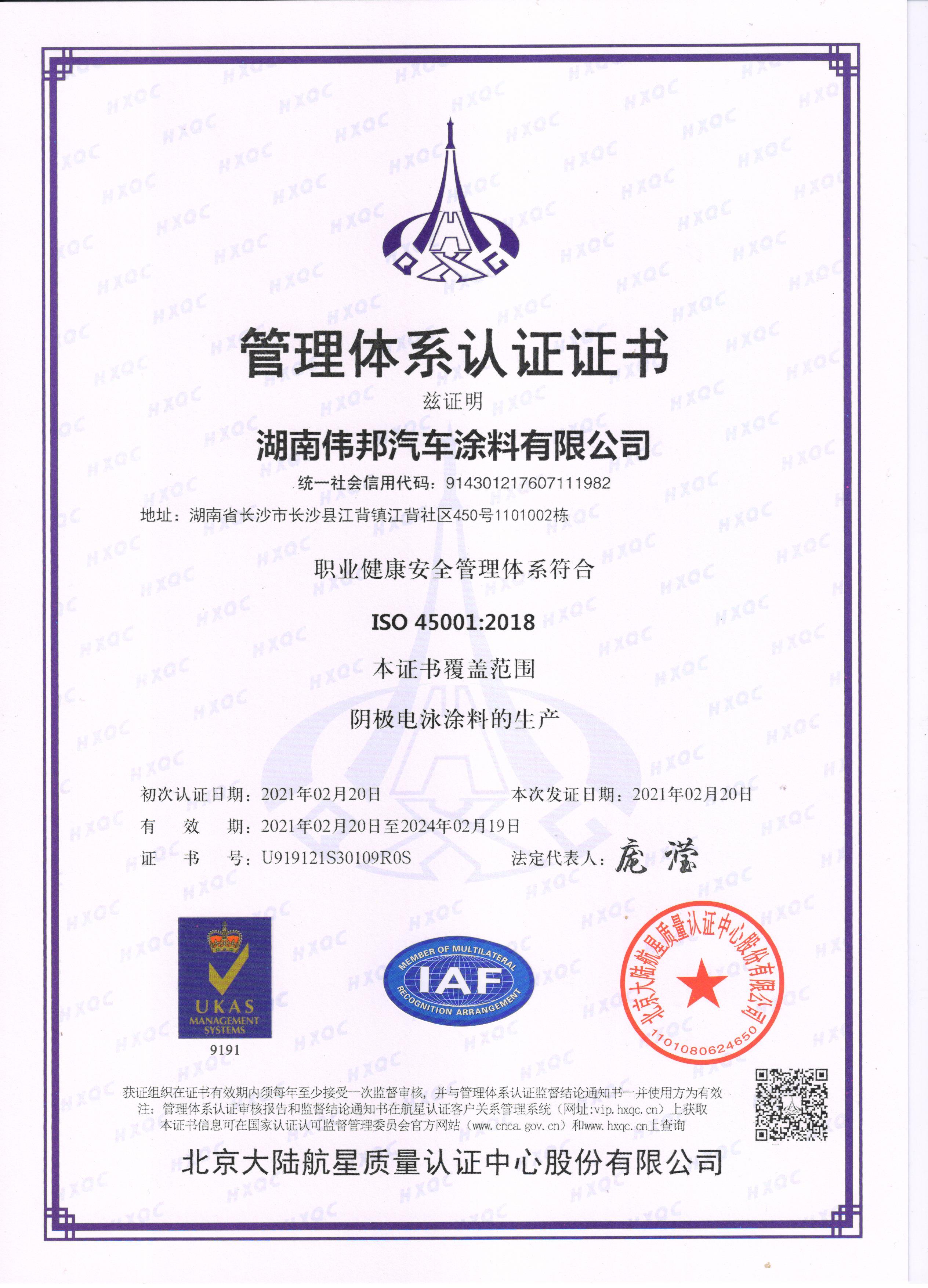 职业健康安全管理体系认证(中文)